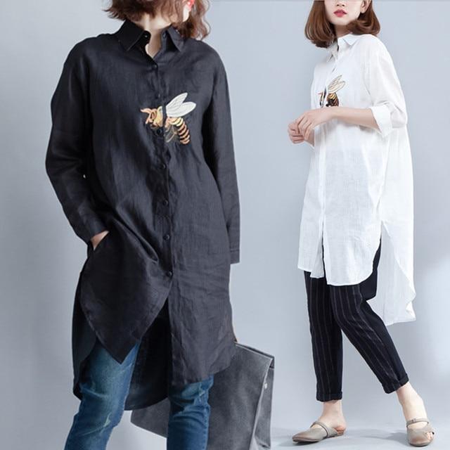 40bbcf1829 Plus Size 4XL 2018 Primavera Outono Moda Feminina Bordado Animal Tops Lady Feminino  Grande Irregular Longo