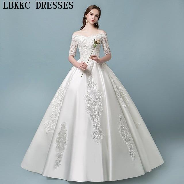fdde708a4 Satin Off The Shoulder Wedding Dress Long Sleeve Lace Vestido De Novia  Appliques Beads Modest Robe De Mariee Bride Dress