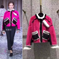 high end velvet mink fur female jacket amazing color blocking casaco feminino real fur winter jacket celebrity temperament coats
