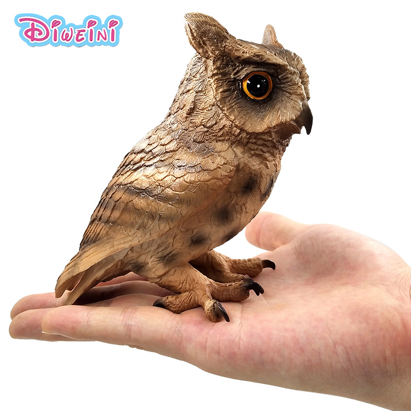 Simulation Forest Owl bird Animal Model Plastic figure home decor fairy garden decoration accessories modern Figurine statue toy недорго, оригинальная цена