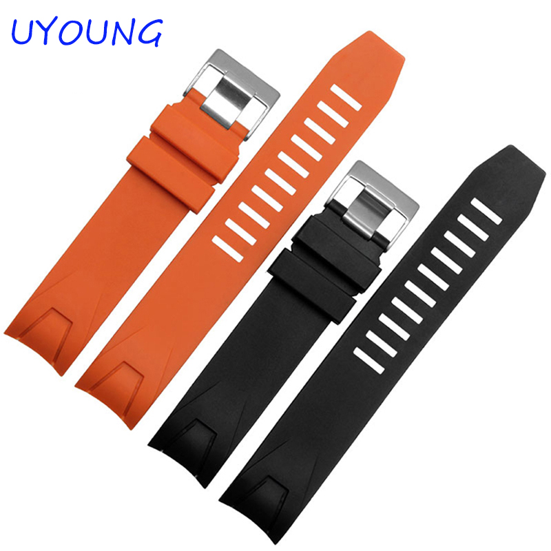 20mm22mm new men's black diver bent end silicone rubber watch straps and deployment buckle black orange watchband стоимость