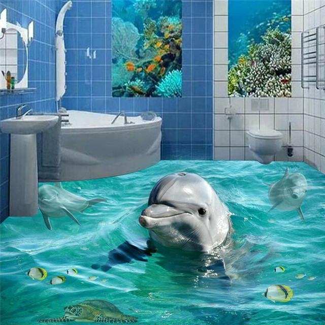 Beibehang Custom Photo Floor Murals Wallpaper 3D Stereoscopic Dolphin Ocean Bathroom  Murals PVC Self