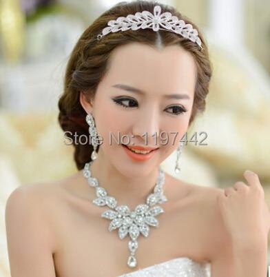 2016 Rhinestone Bridal Hair Jewelry Set with Earrings Crystal Bridal Wedding Sets Choker Necklace Earring