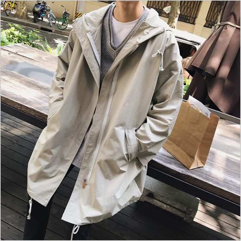 New   Trench   Coat Fashion Men Long Coats Casual Loose   Trench   Coat Men 2019 Spring Zipper Men   Trench   Coat Hooded Clothes A5292