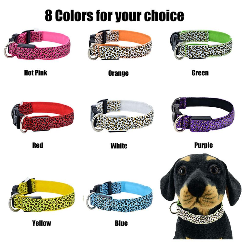 160 pcs/lot LED collier de chien clignotant dans l'obscurité 3 Mode éclairage sécurité réglable en Nylon léopard collier pour animaux lumineux accessoires pour animaux de compagnie - 2