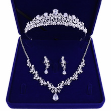 Jewelry-Sets Tiaras Necklace Crown Rhinestone Leaf-Bridal Bride-African-Beads Luxury