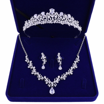 Luxury Noble Crystal Leaf Bridal Jewelry Sets Rhinestone Crown Tiaras Necklace Earrings Set for Bride African Beads Jewelry Sets Fashion Jewelry