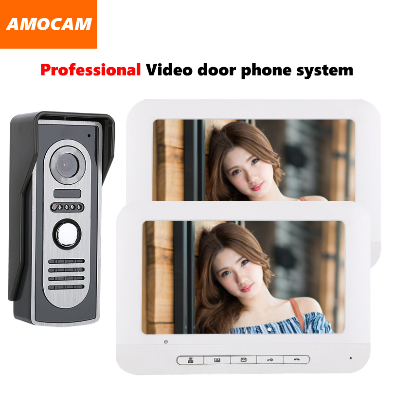 7 video door phone intercom doorbell kits aluminum alloy panel wired video doorphone system 1 IR camera 2 LCD color monitor 7 inch video doorbell tft lcd hd screen wired video doorphone for villa one monitor with one metal outdoor unit night vision