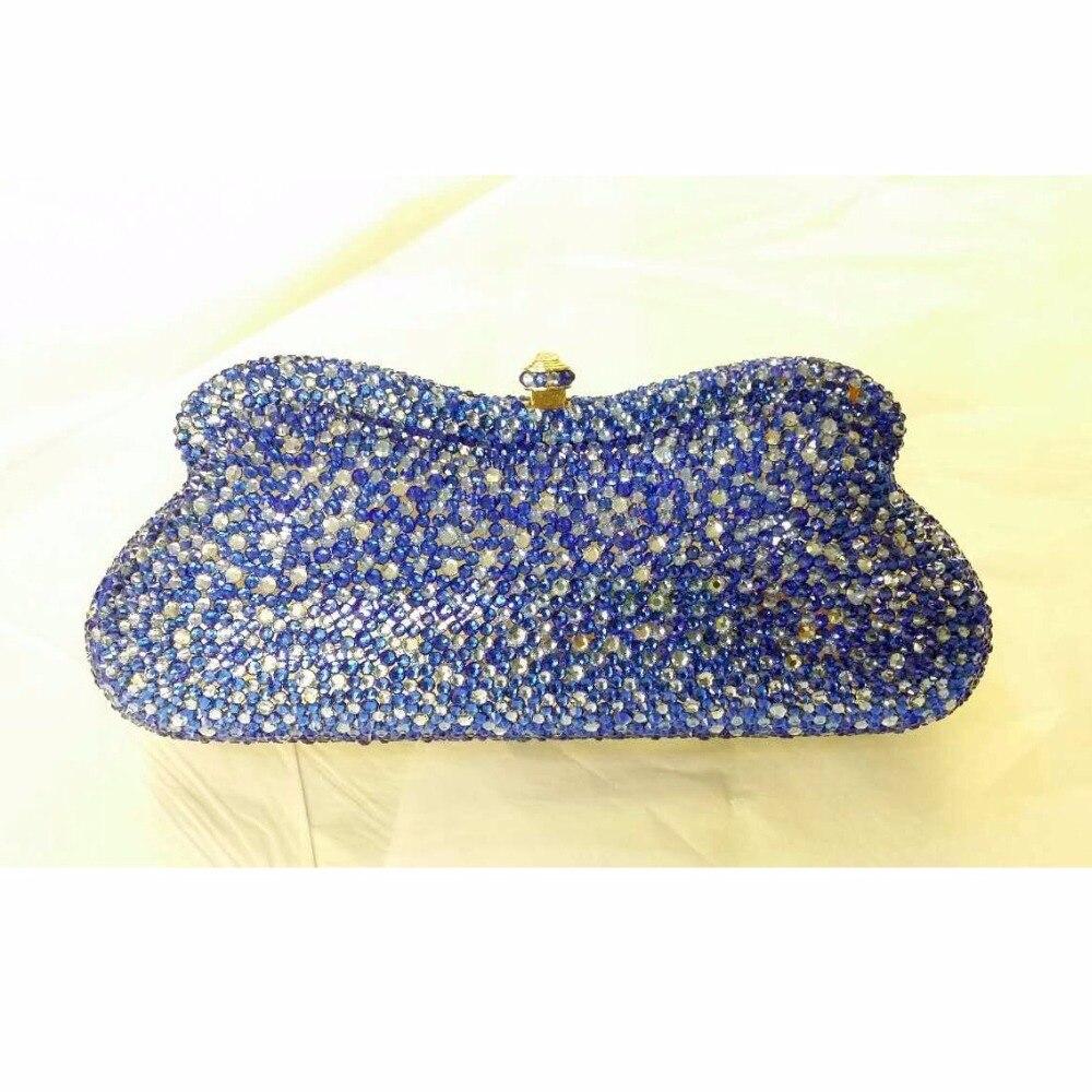 ФОТО 7773Z-BA Blue & Aqua Crystal lady fashion Bridal Party Night Metal Evening purse clutch bag case box handbag