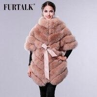 FURTALK шуба меха лиса пальто женское шубы мех мод шубы из натурального меха женский жилет женский шуба натуральный мех