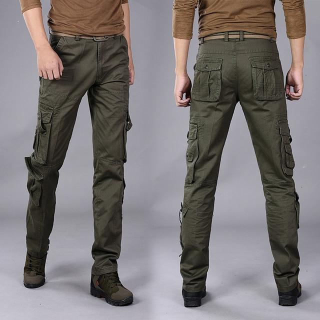 3026cf0aca Hombres Más Tamaño Overoles Multibolsillos Pantalones Cargo Tácticos  Comandos Estilos Sueltos de Cuerpo Entero 5 Colores