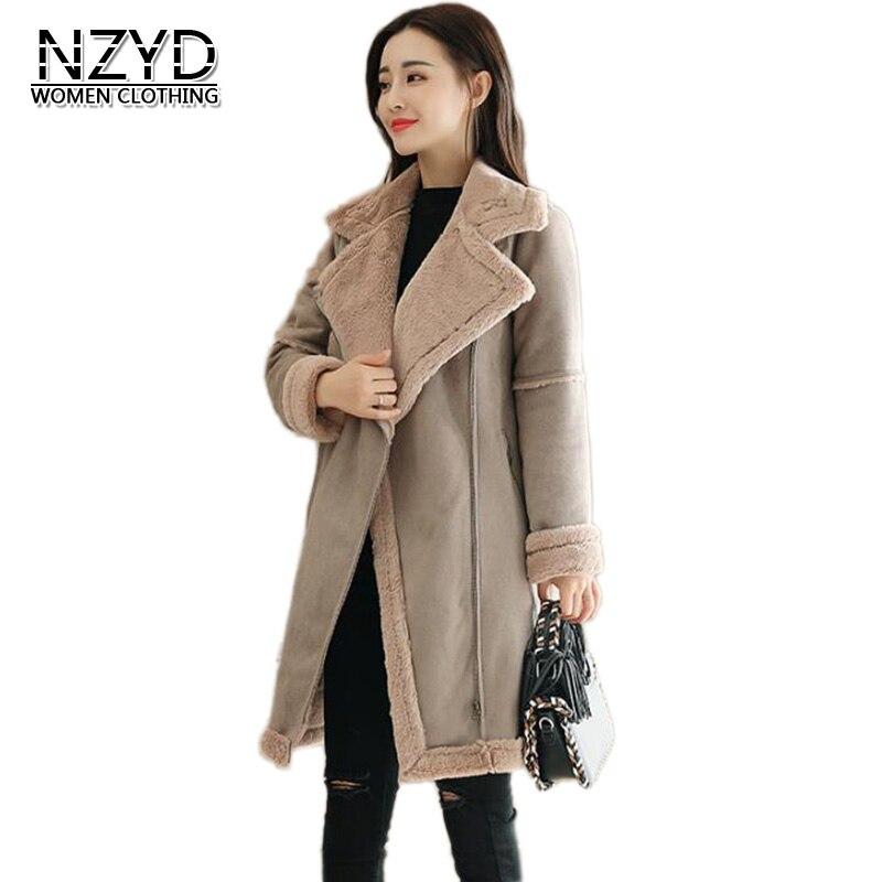 Nouveau Épaississement Lâche Style Hiver Casual Veste Solide 2xl Mi Femmes Femme Nzyd538 2018 brown Daim Manteau long Khaki M Mode Chaud De PdXq4nYZx