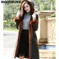 Women's Lambskin Real Leather Coat Women's Black Long Winter Hooded Real Shearling Sheepskin Leather Coat