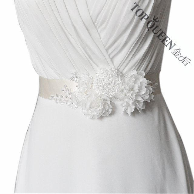 TOPQUEEN Women's Handmade Wedding Flower Bride Bridesmaid Sash Belt S228 For the Wedding Evening Party Bridal Dress