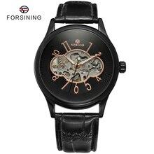 8 Colores Marca FORSINING Hombres Mecánicos Mano de Viento Esqueleto Reloj de Cuero Clásico de La Moda Para Hombre Reloj relogio masculino montre