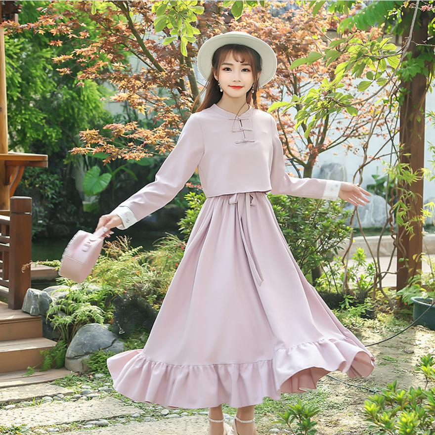 Chinese tyle dess 2018 new spring embroidery vintage women dress stand full sleeve ruffles women clothes gx141