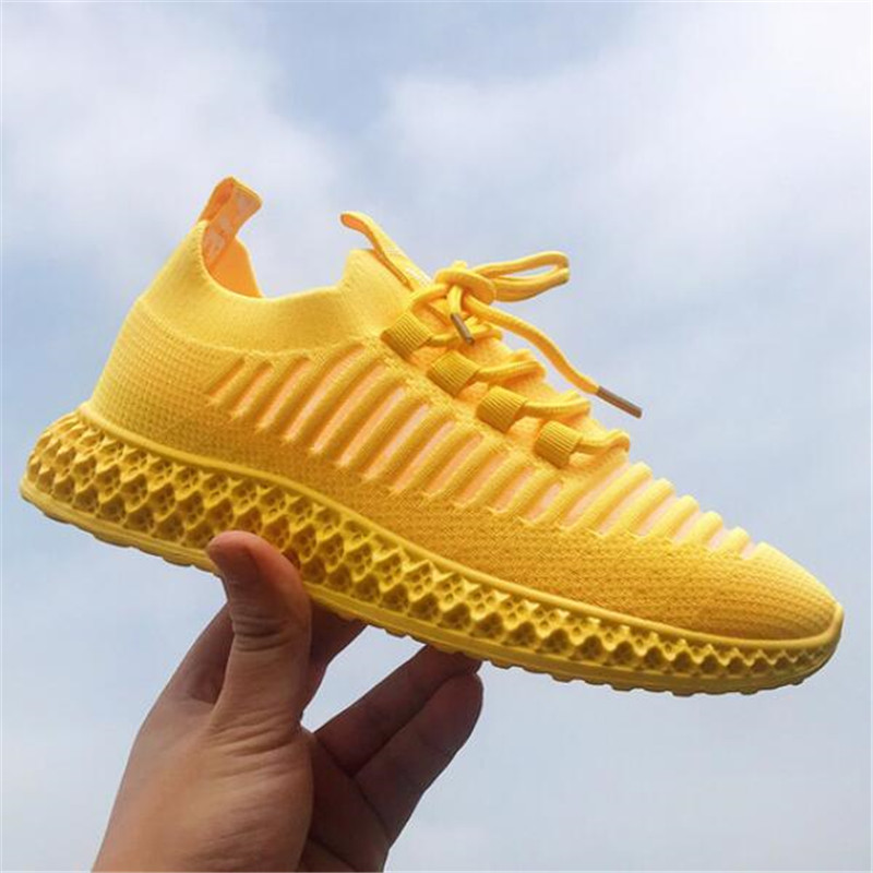 New Women Casual Shoes Fashion Breathable Walking Mesh Lace Up Flat Shoes Sneakers Women Yellow Vulcanized Shoes Tenis Feminino
