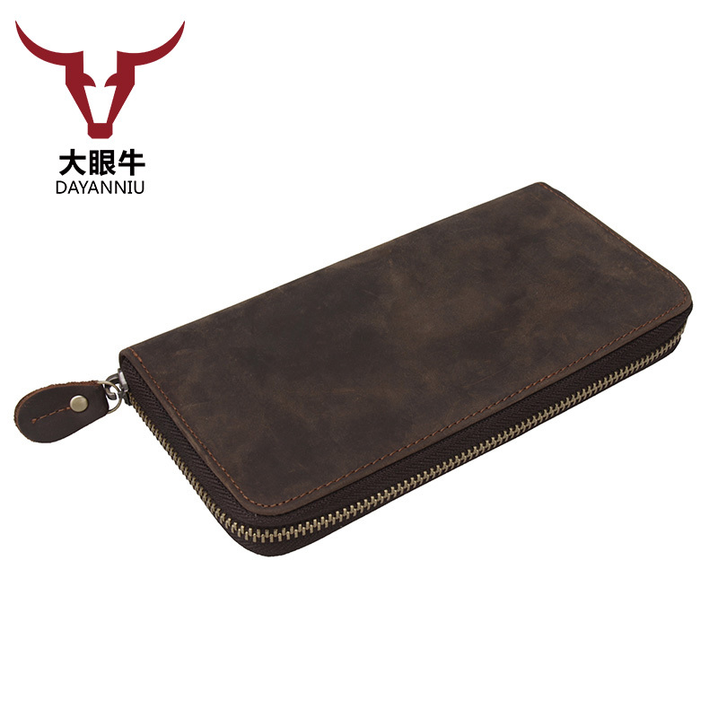 Genuine Crazy Horse Cowhide Leather Men Wallets Fashion Purse Card Holder Vintage Long Wallet Clutch Wrist Bag (custom available slymaoyi genuine crazy horse cowhide leather men wallets fashion purse with card holder vintage short wallet clutch wrist bag