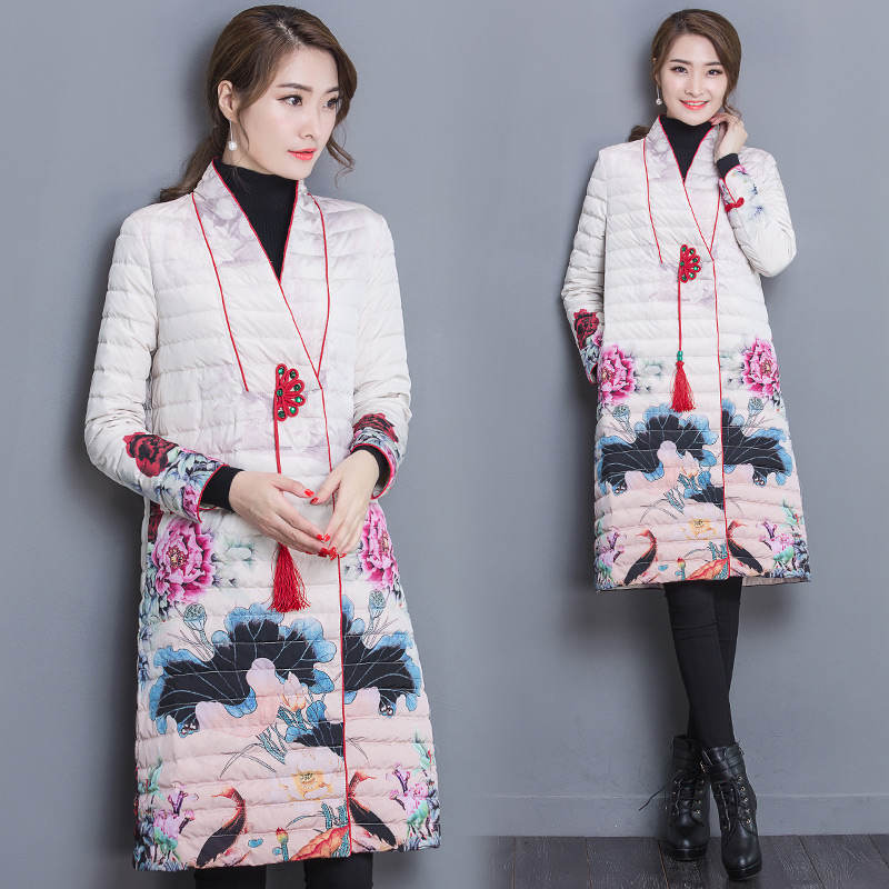 2017 Chinese Style  Parka Women Retro Cheongsam Long Printing Cotton Coat Full Sleeve Slim Woman Winter Coats And Jackets