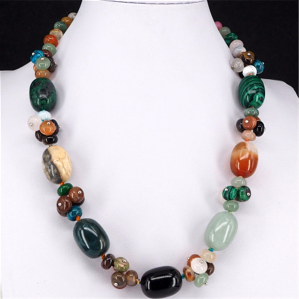 Druzy Natural Crystal Semi-precious Stone Necklace Women's Colorful  Necklace Jewelry Round Beads String Energy Necklace