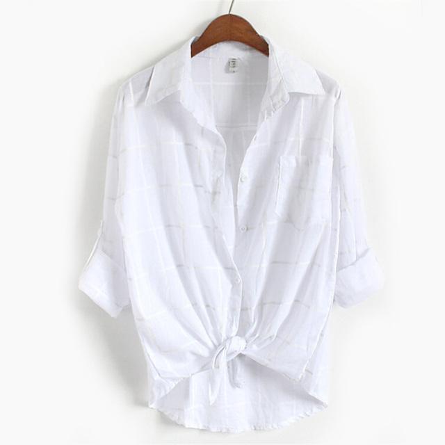 INDJXND 2018 Ladies Female Casual Linen Long Sleeve Plaid Shirt Women Slim Cotton Outerwear Blouse Tops Blusas Size Femme office