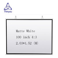 Thinyou 100 Inch 4:3 HD Portable Projector Screen Plastic Screen For Home theater made of Matt White Material Projection Screen