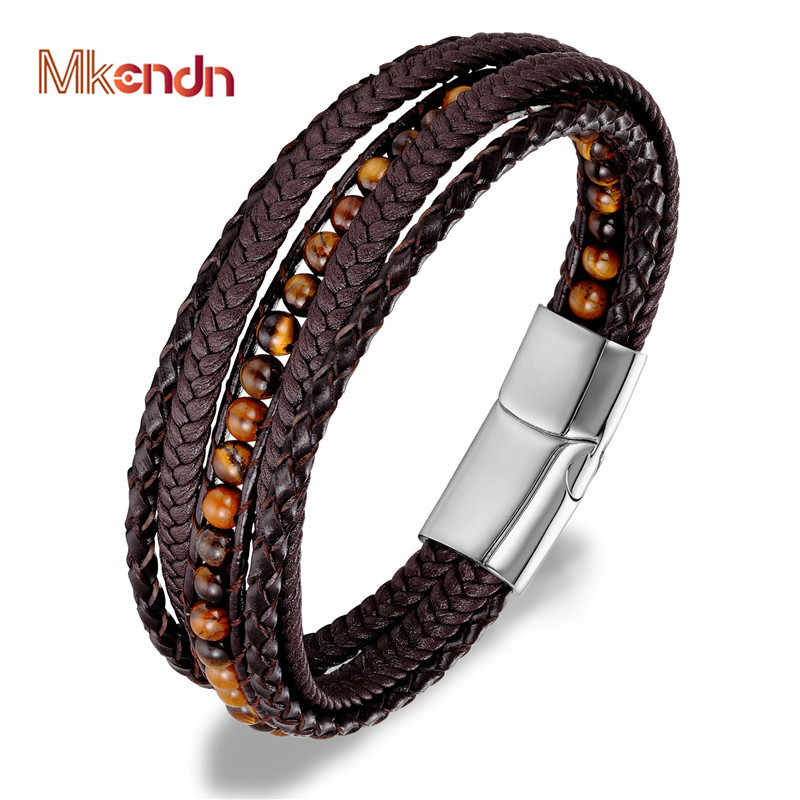 MKENDN Leather Bracelets 6MM Tiger Eyes Stone Wrap Bracelets Woven Multilayer Boho Bracelet Handmade Jewelry Magnetic Clasp