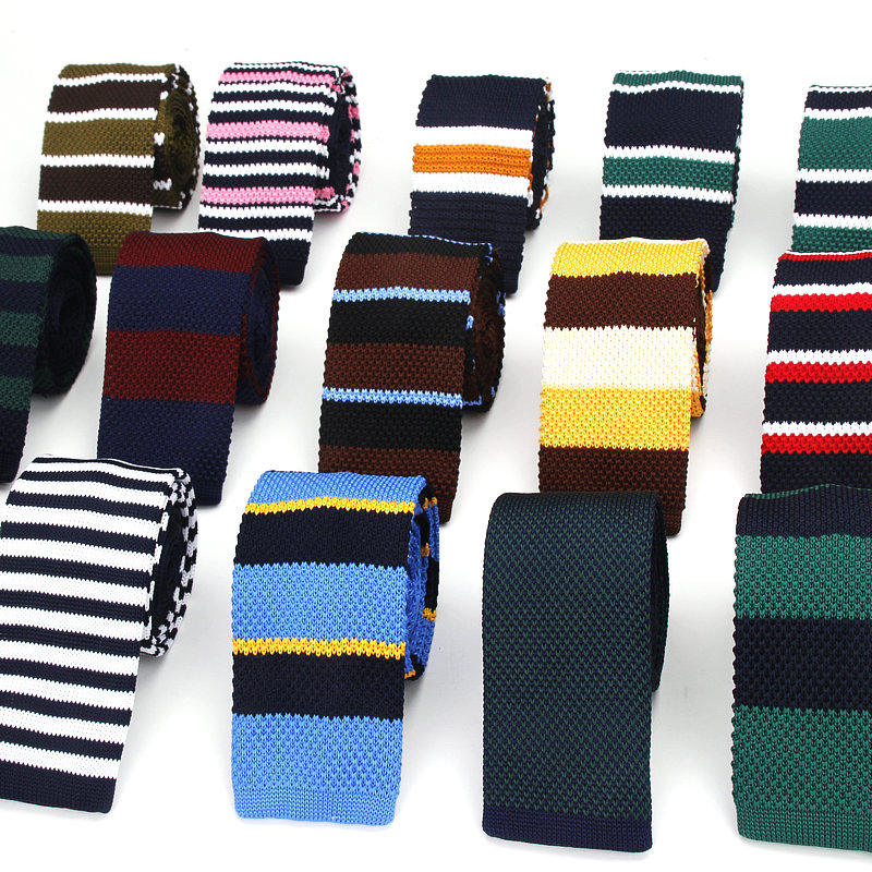 2018 Brand New Men's Suits Knit Tie Plain Necktie For Wedding Party Tuxedo Striped Skinny Gravata Cravats Neck Ties Accessories