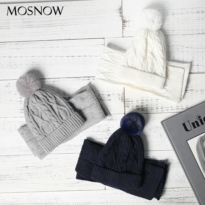 Kids Wool Knitted Scarf&Hat Set Winter Warm Pompom Hats And Scarves Child Beanie For Boys And Girl Unisex 2 Pieces Set For Baby