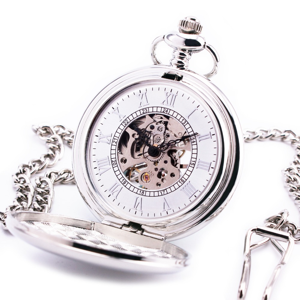 ORKINA Retro Pocket Watch Roman White Dial Stainless-steel Smooth Case Semi-Automatic Mechanical Dress Quality Fob watches + BOX(China (Mainland))