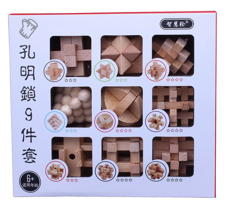 2019 New 9pcs/set 3D Wooden Puzzle Wire IQ Mind Brain Teaser Puzzle Kids Game Toys For Children Adults Baby Montessori Toys