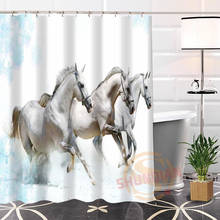 Popular Eco Friendly Custom Unique Nice Horses Fabric Modern Shower Curtain Bathroom With Hooks For