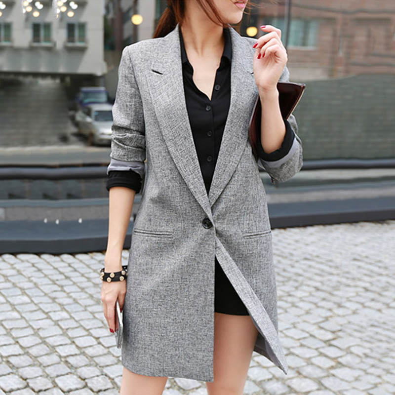 Women Ladies Suit Coat Long Sleeve Solid Color Open Front Blazer for Office Home H9