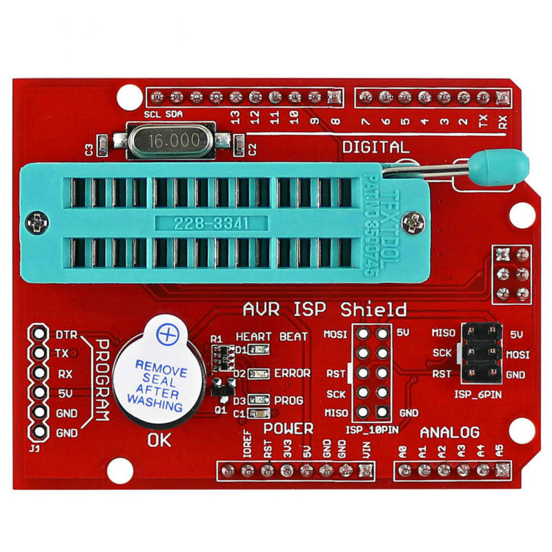 AVR ISP Shield Burning Bootloader Programmer for Arduino UNO R3 PCB By diy FZ2665 pcb stc auto downloader programmer
