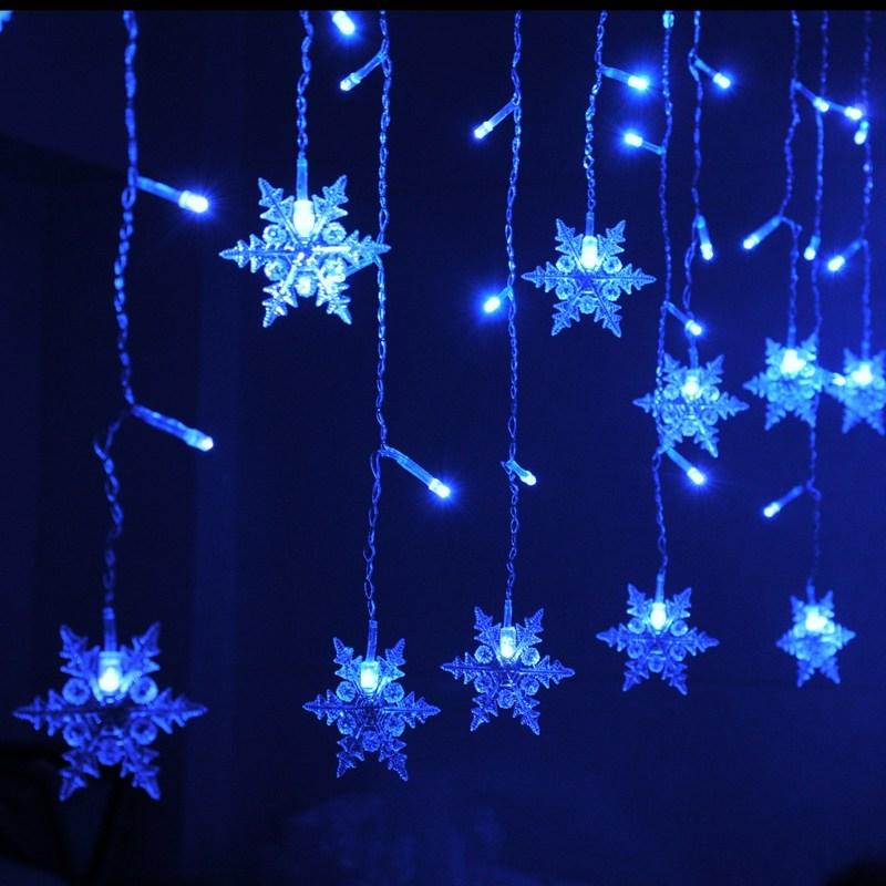 Mrosaa 3.8M LED Curtain Snowflake String Lights LED Fairy Lights 8 Modes Christmas Lights Wedding Party Trees Decoration