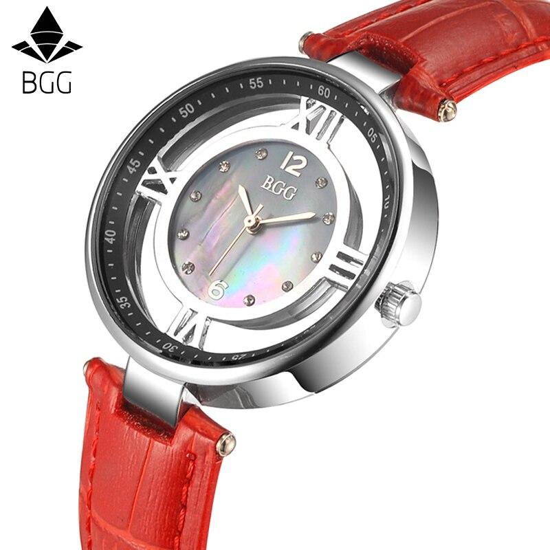 где купить Women Genuine leather dress watches ladies Luxury Shell Dial Skeleton Casual quartz watch female rhinestone clock hours по лучшей цене