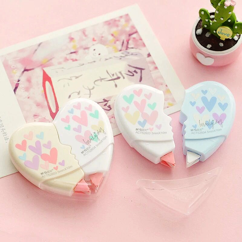 3 Pair/lot Love Heart Correction Tape Material Escolar Kawaii Stationery Office School Supplies Papelaria 10M