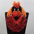 Conjuntos de Joyas de Coral de vino nigeriano, conjuntos de joyas africanas, bolas de naranja, conjuntos de joyas de novia india, conjuntos de joyas envío gratis CJ769