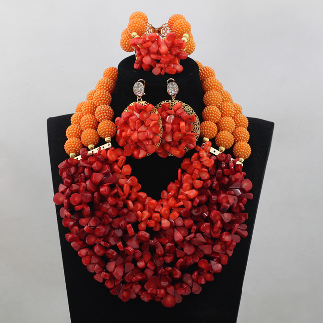 Nigerian Wine Coral Beads Jewelry Sets Orange Balls African Jewelry Sets Indian Bridal Necklace Jewelry Sets Free Shipping CJ769