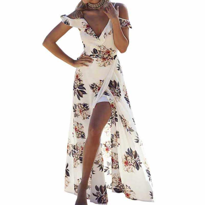 dfed4b1775 Summer Beachwear Floral Print Ruffles Chiffon Maxi Long Dress Strap V Neck  Split Dresses Sexy Backless
