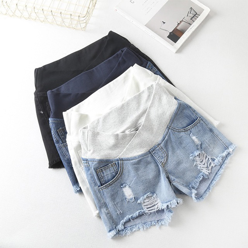 Summer Fashion Denim Maternity Shorts Elastic Waist Belly Short Jeans Clothes for Pregnant Women Hot Ripped Hole Pregnancy M-XXL(China)