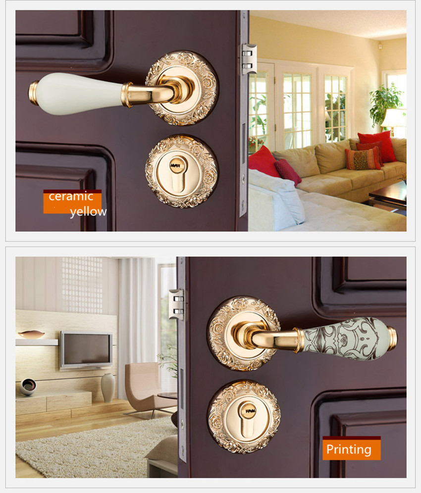 Modern fashion LUxurious creative gold interior solid wooden door lock printing ceramic bedroom mechanical split mute door lock modern simple fashion interior room door lock black split mechanical mute solid wood bedroom door lock creative bird handle lock