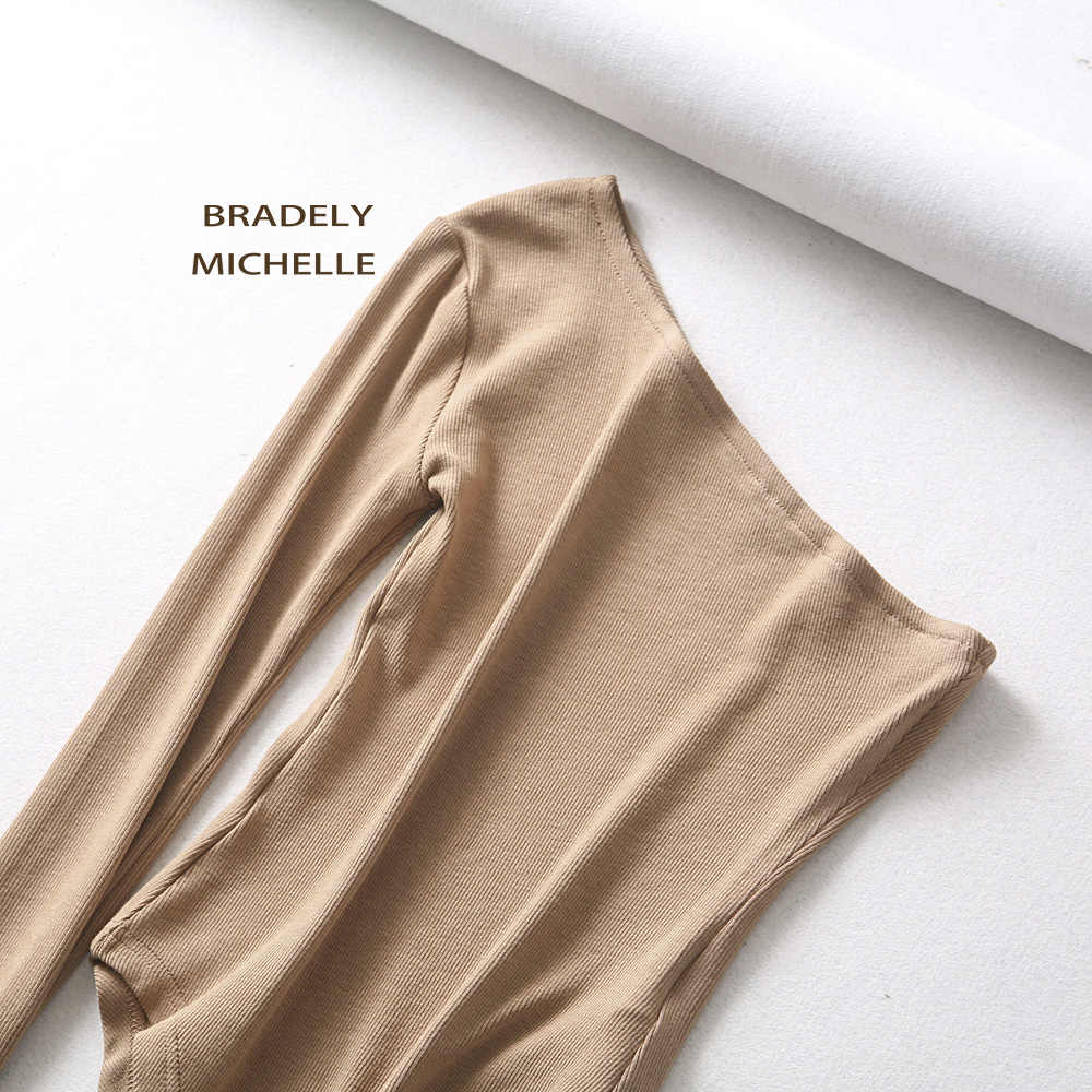BRADELY MICHELLE Новые Модные женские сексуальные без бретелек с одним рукавом боди осенние женские под топы хлопковый комбинезон Комбинезоны