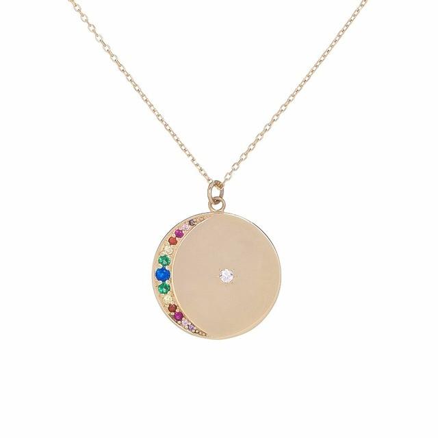 Arco Iris Luna grabado regalo de Navidad 2018 collar redondo moneda oro plata color clásico diseño único joyería colgante collares