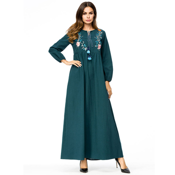 Vestidos 2019 printemps Abaya dubaï Caftan arabe musulman Hijab Robe femmes  Ramadan Robe Caftan Elbise turc vêtements islamiques