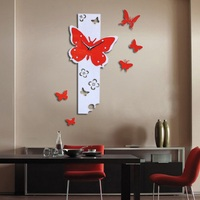 Modern New Fashion Hot Selling Fast Shipping Butterfly Fly Pattern Large DIY Wall Clock 3D Mirror Surface Sticker Home 422