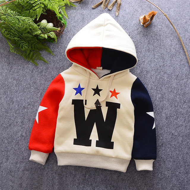 kids boys winter hoodies baby hooded long sleeve pullover patchwork stars printed fleece thick t shirt toddler warm clothes tops