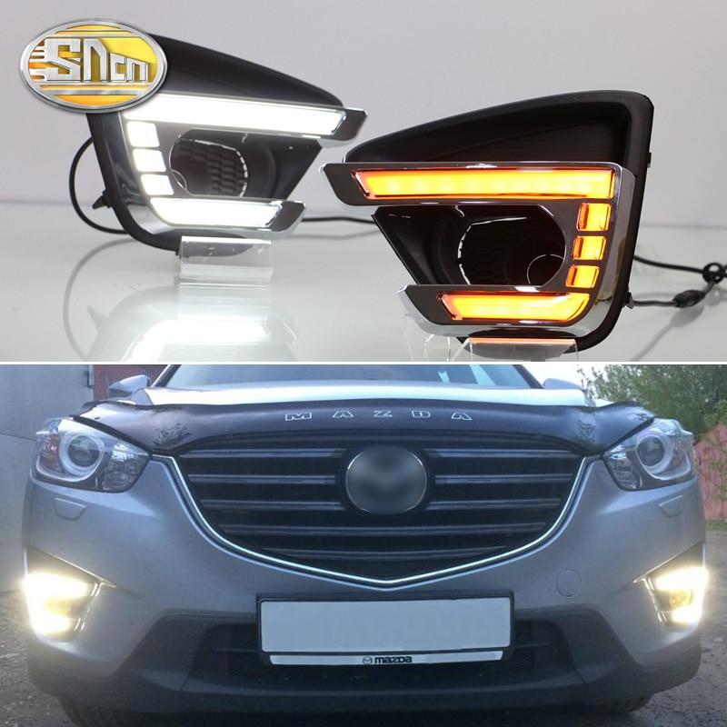 Para Mazda CX-5 CX5 2013 2014 2015 2016, Función de señal amarilla Impermeable Coche DRL 12V LED Luz diurna Luz diurna SNCN