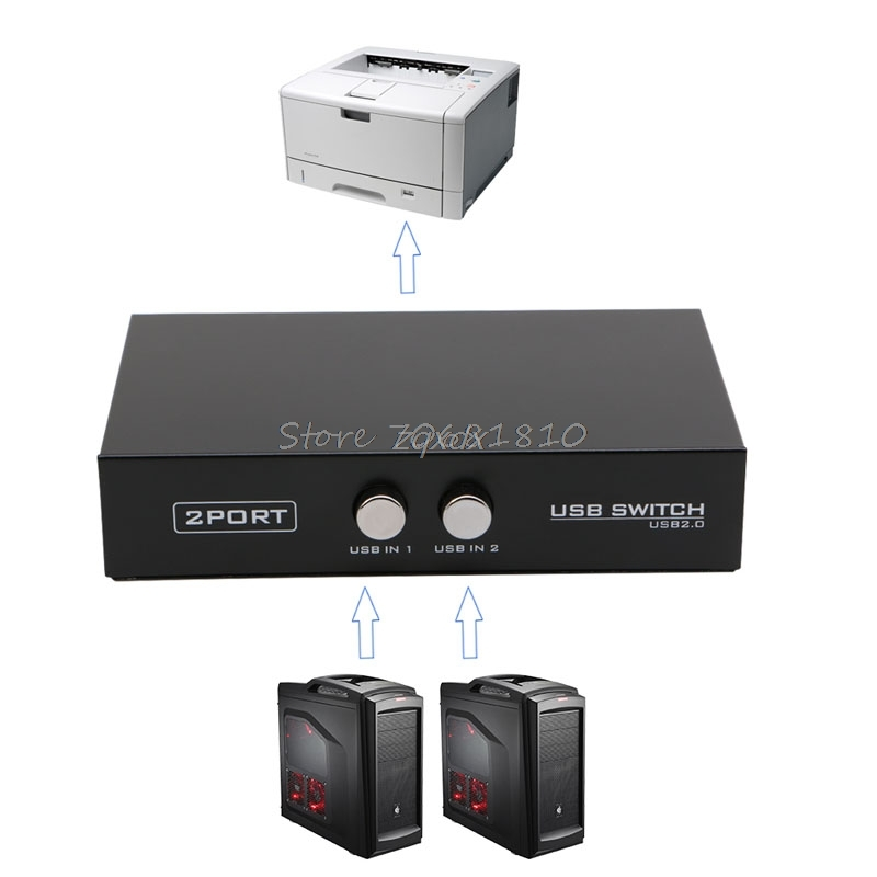 2 Ports USB2.0 Sharing Device Switch Switcher Adapter Box For PC Scanner Printer Drop Ship