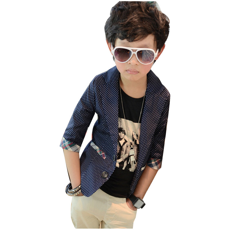 2016 Spring Autumn Big Boy Blazers Plaid Style Polka Dot Kids - B-Top Fashion store